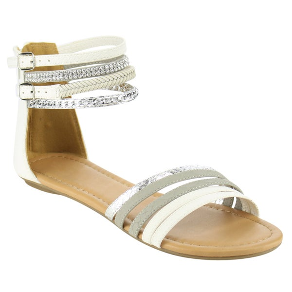 Beston Rhinstone Studded Flat Sandals