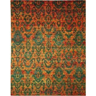 Sari Silk Jamshed Orange Hand-knotted Rug (9' x 11'9)