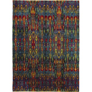 Sari Silk Dilshad Blue Hand-knotted Rug (9'1 x 12'5)