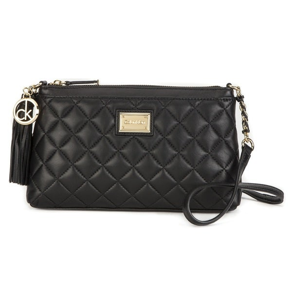 Calvin Klein Black Quilted Leather Crossbody Handbag