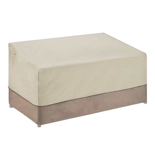 Villacera High Quality Patio Love Seat Cover Beige and Brown Small
