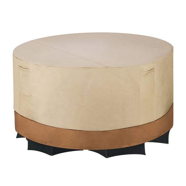 Villacera High Quality Patio Table and Chair Cover Round Beige and Brown Medi