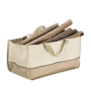 Villacera High Quality Extra Large Log Tote Bag Beige and Brown
