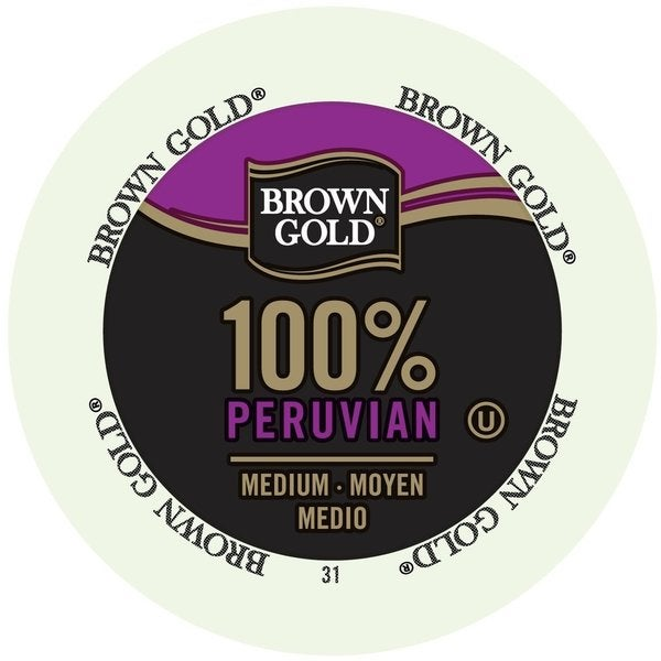 Brown Gold Coffee 100-percent Peruvian K-Cup Portion Pack for Keurig Brewers 18102242