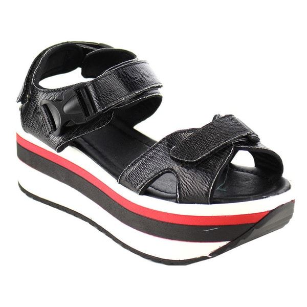 BELLA MARIE APOLLO-1 Women's Platform Padded Velcro Strap Lug Sole Comfort Wedge