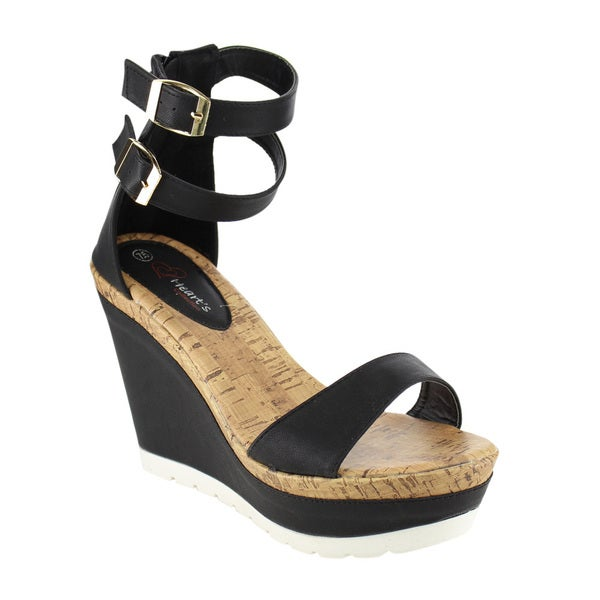 I Heart Collection Buckle Wedge Sandals