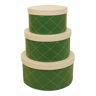 Green Round Stacking Boxes (Set of 3)