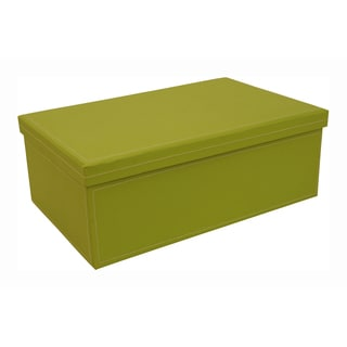 Lime Green 14-inch Embossed Paperboard Box with Lid (Set of 2)