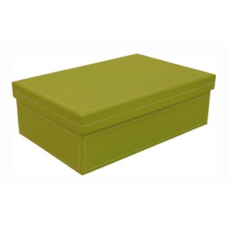 Lime Green 9.5-inch Paperboard Box with Lid (Set of 4)