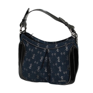 Charriol CC Logo Canvas and Black Patent Leather Handbag in Navy Blue