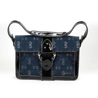 Charriol CC Logo Canvas Pochette Handbag in Navy Blue