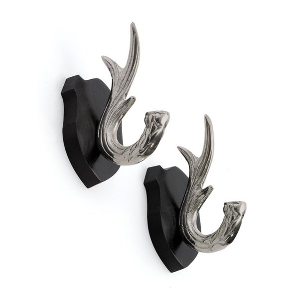 Pair Of Antler Hooks on Plaque