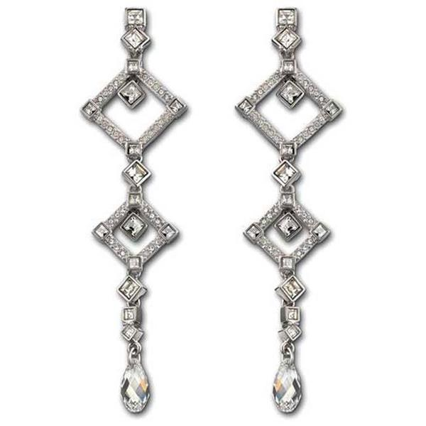 Rhodium-plated Austrian Crystal Marrakesh Pierced Earrings