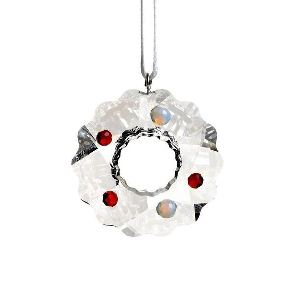 Crystal Christmas Wreath Ornament with Silver Accents and Red and Cream Colored Ornaments