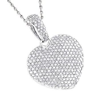 Luxurman 14k Gold 1 1/6ct TDW Pave Diamond Heart Pendant (G-H, SI1-SI2)