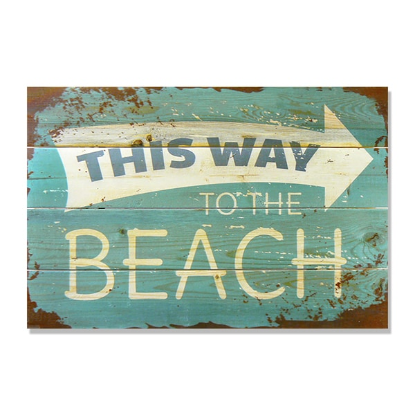 This Way to the Beach 20x14 Wile E. Wood Indoor/ Outdoor Full Color Cedar Wall Art
