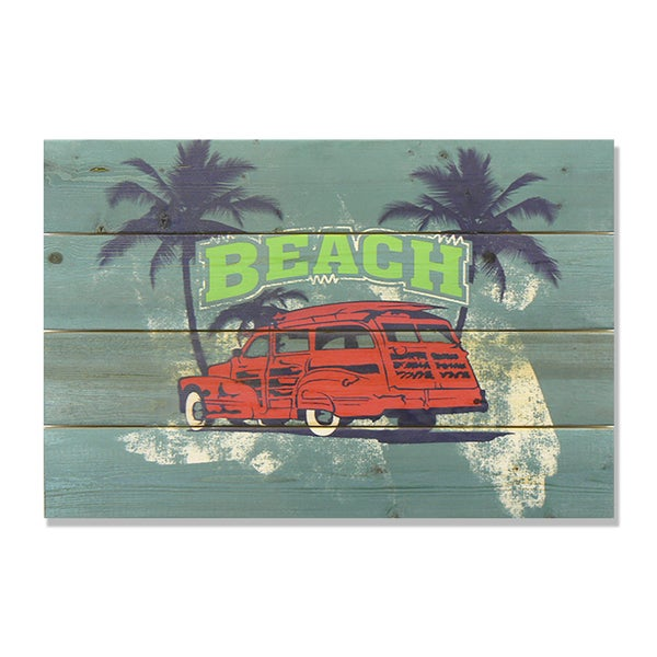 Red Beach Woodie 14x20 Wile E. Wood Indoor/ Outdoor Full Color Cedar Wall Art 18105065