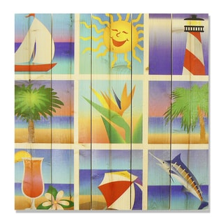 Summer Beach Squares 17x17 Wile E. Wood Indoor/ Outdoor Full Color Cedar Wall Art