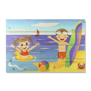 Kids on Beach 20x14 Wile E. Wood Indoor/ Outdoor Full Color Cedar Wall Art