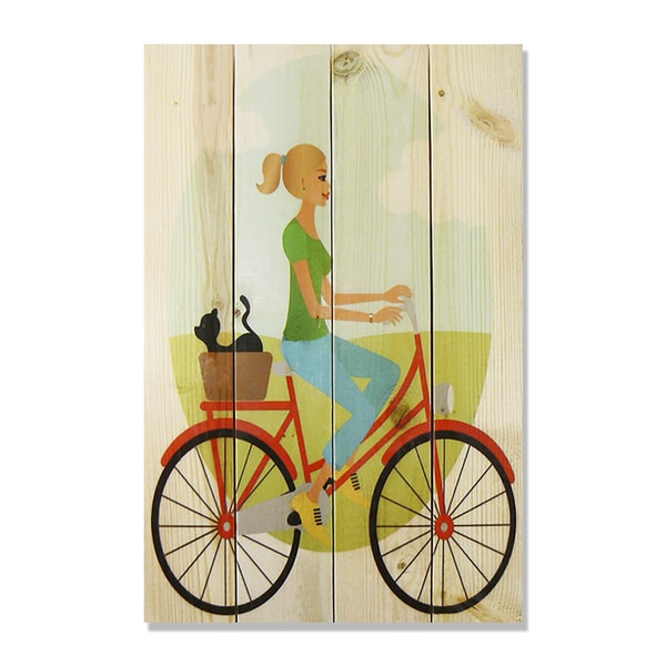 Red Bike Girl 14x20 Wile E. Wood Indoor/ Outdoor Full Color Cedar Wall Art