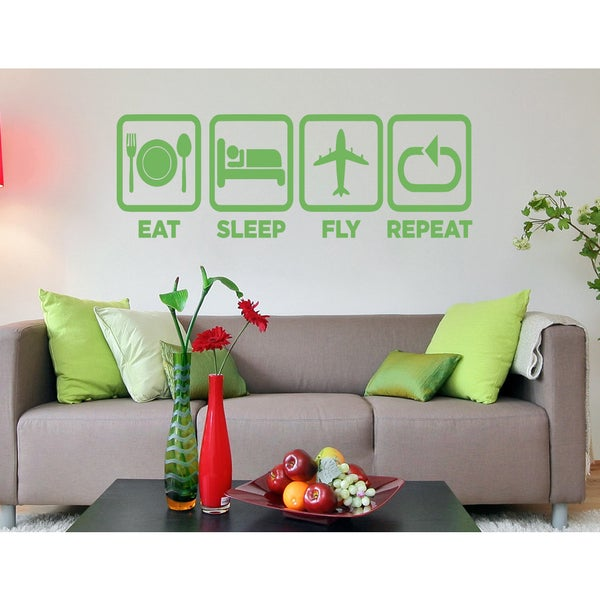 Eat Sleep Fly Repeat Wall Art Sticker Decal Green