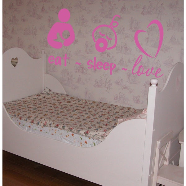 Eat Sleep Love Kids Wall Art Sticker Decal Pink