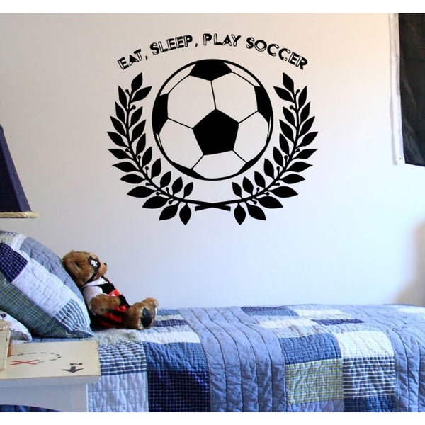 Eat Sleep Play Soccer Kids Wall Art Sticker Decal
