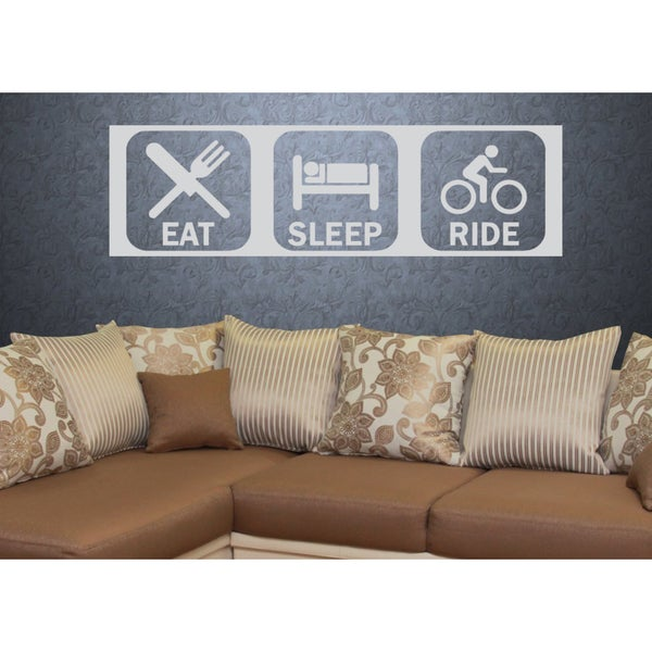 Eat Sleep Ride Kids Kids Wall Art Sticker Decal White