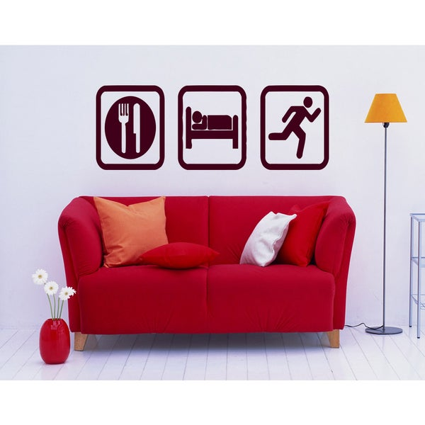 Eat Sleep Run Sport Wall Art Sticker Decal Red