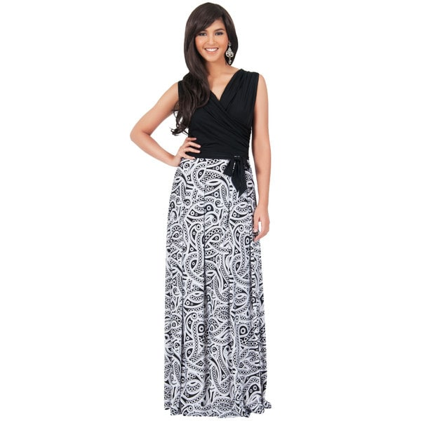 Koh Koh Women's Sleeveless Wrap Printed Maxi Dress Size Large in Black/ Purple(As Is Item)