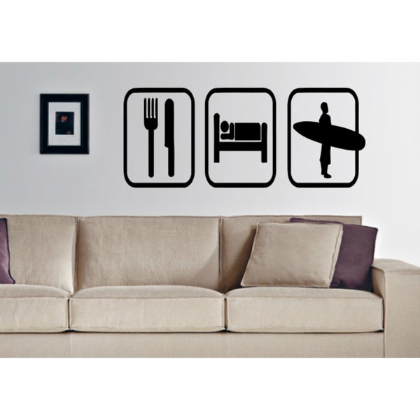 Eat Sleep Surfing Wall Art Sticker Decal