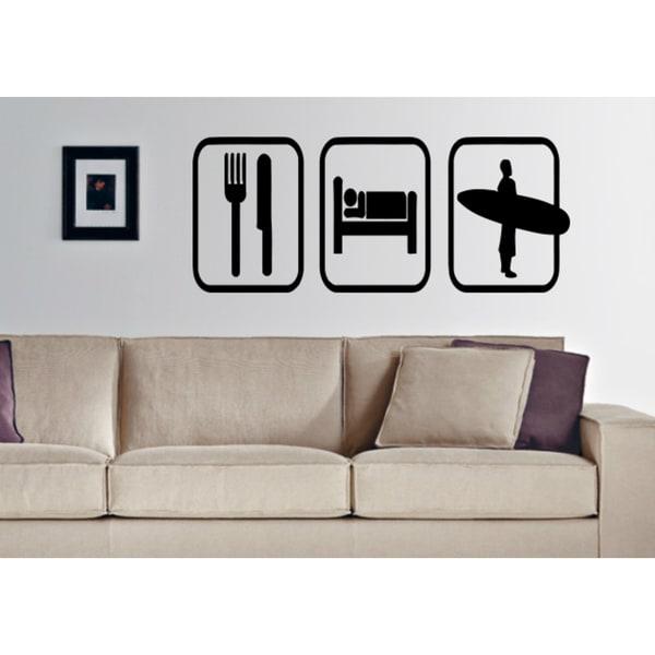Eat Sleep Surfing Wall Art Sticker Decal