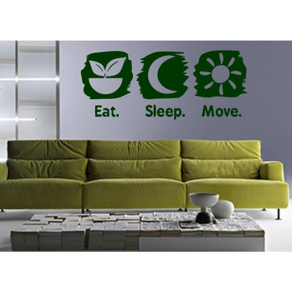 Eat Sleep Move Wall Art Sticker Decal Green