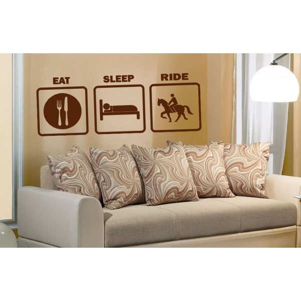 Eat Sleep Ride Wall Art Sticker Decal Red