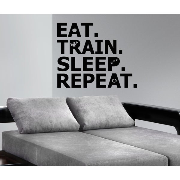 Eat Sleep Train Repeat Wall Art Sticker Decal