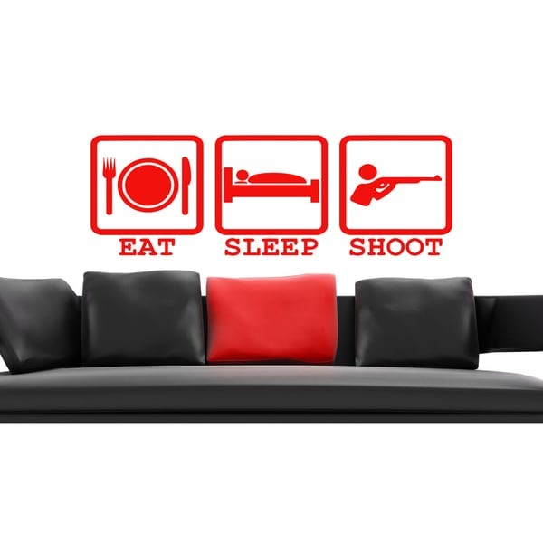 Eat Sleep Shoot Kids Wall Art Sticker Decal Red