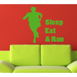 Eat Sleep Run Kids Room Wall Art Sticker Decal Green