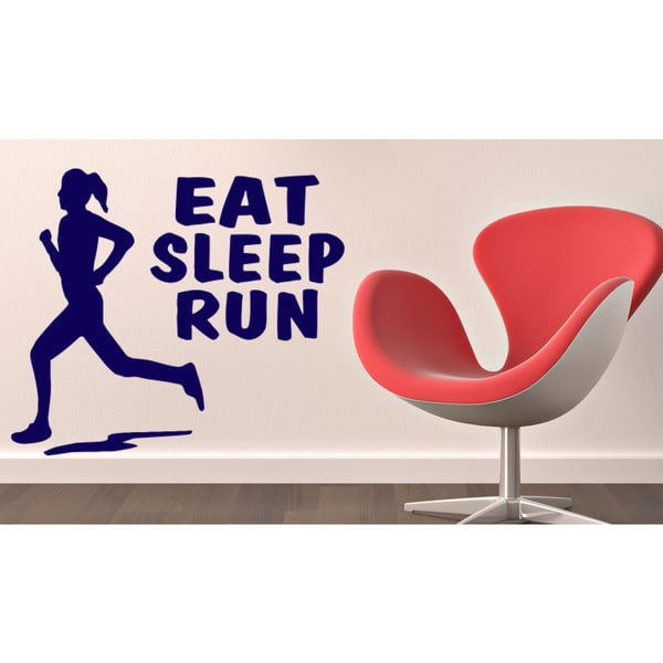 Eat Sleep Run Girl Wall Art Sticker Decal Blue