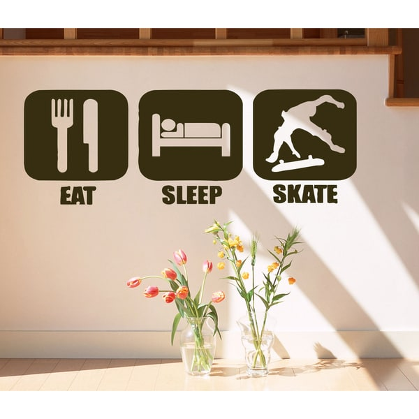 Eat Sleep Skate Kids Wall Art Sticker Decal Brown