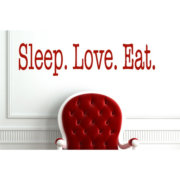 Eat Sleep Love Kids Room Children Wall Art Sticker Decal Red