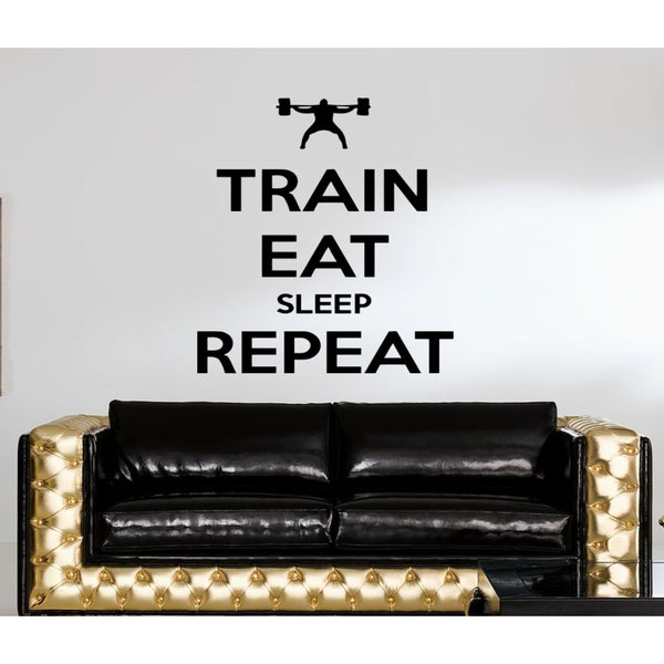 Eat Sleep Train Repeat Kids Room Wall Art Sticker Decal