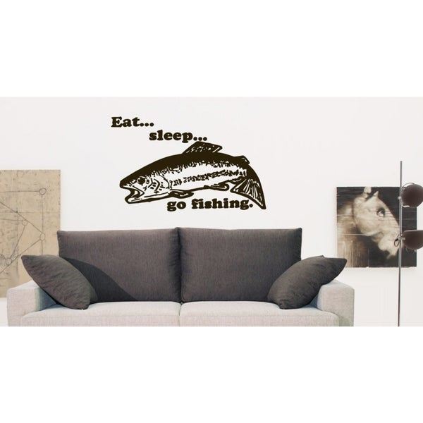 Eat Sleep Go Fishing Wall Art Sticker Decal Brown