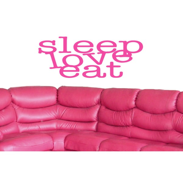 Eat Sleep Love Children Wall Art Sticker Decal Pink
