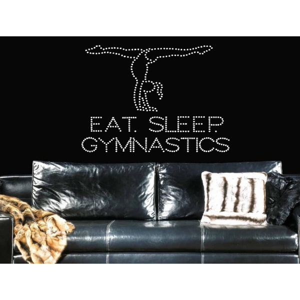 Eat Sleep Gymnastics Wall Art Sticker Decal White