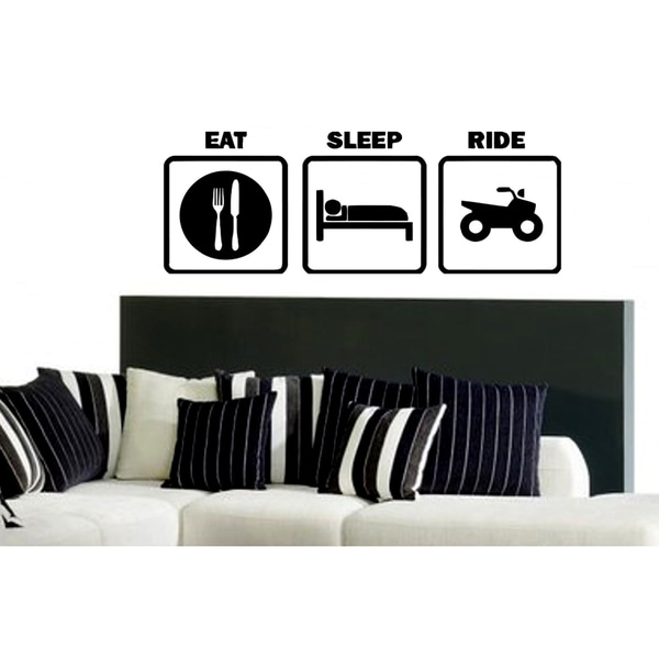 Eat Sleep Ride Kids Room Wall Art Sticker Decal