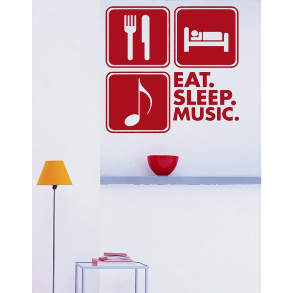 Eat Sleep Music Wall Art Sticker Decal Red