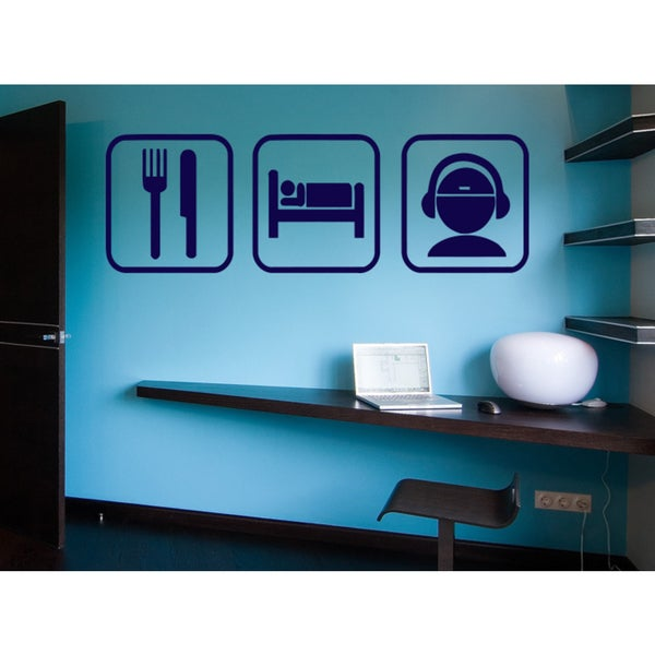Eat Sleep DJ Wall Art Sticker Decal Blue