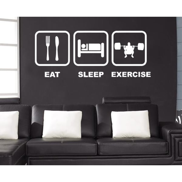 Eat Sleep Exercise Wall Art Sticker Decal White