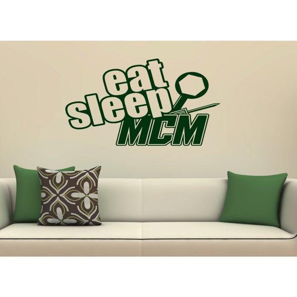 Eat Sleep Mcm Wall Art Sticker Decal Green