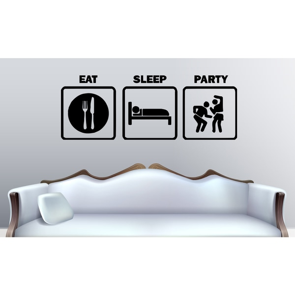 Eat Sleep Party Wall Art Sticker Decal